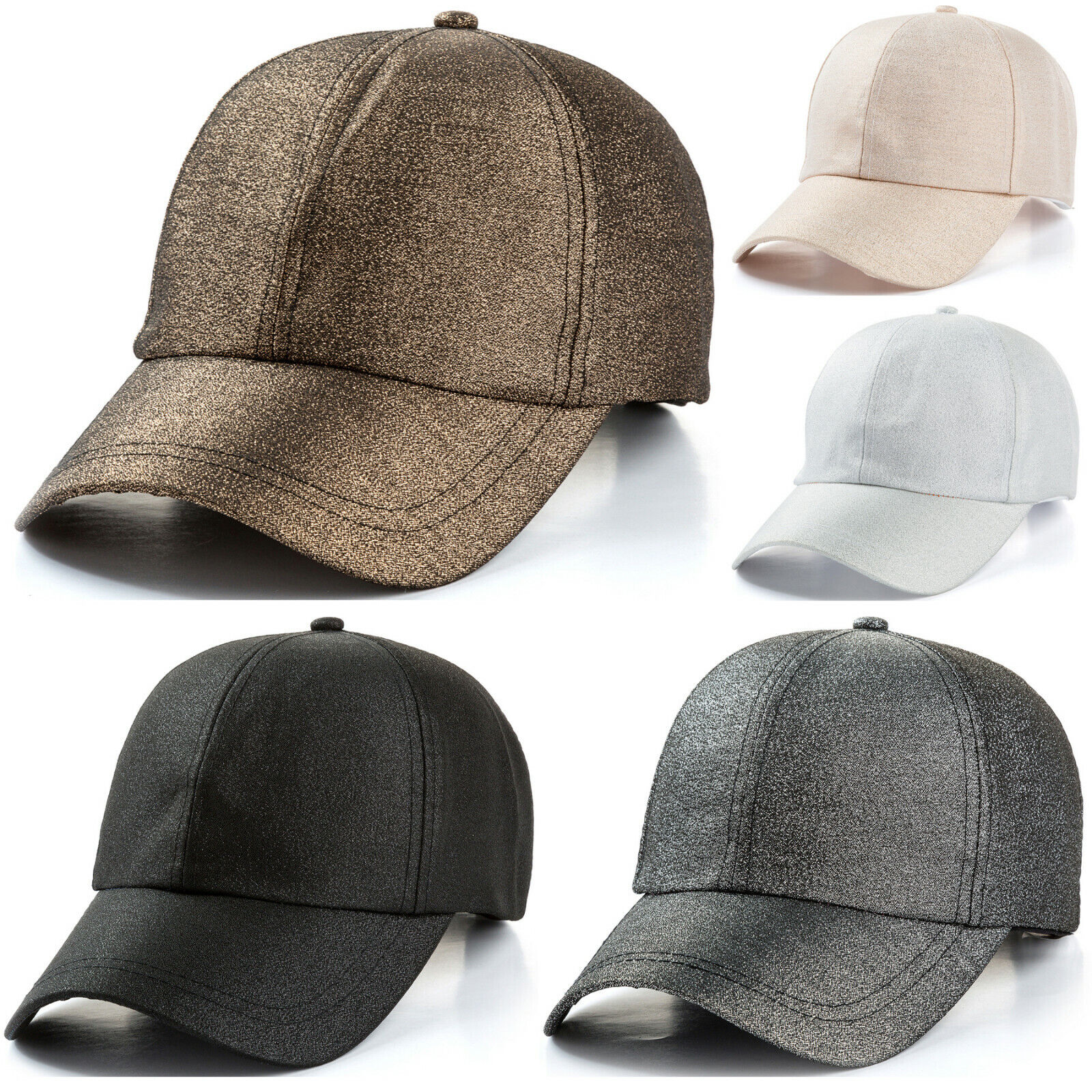 Women's Solid Color Adjustable Shiny Mercerised Cotton Baseball Cap Clothing, Shoes & Accessories