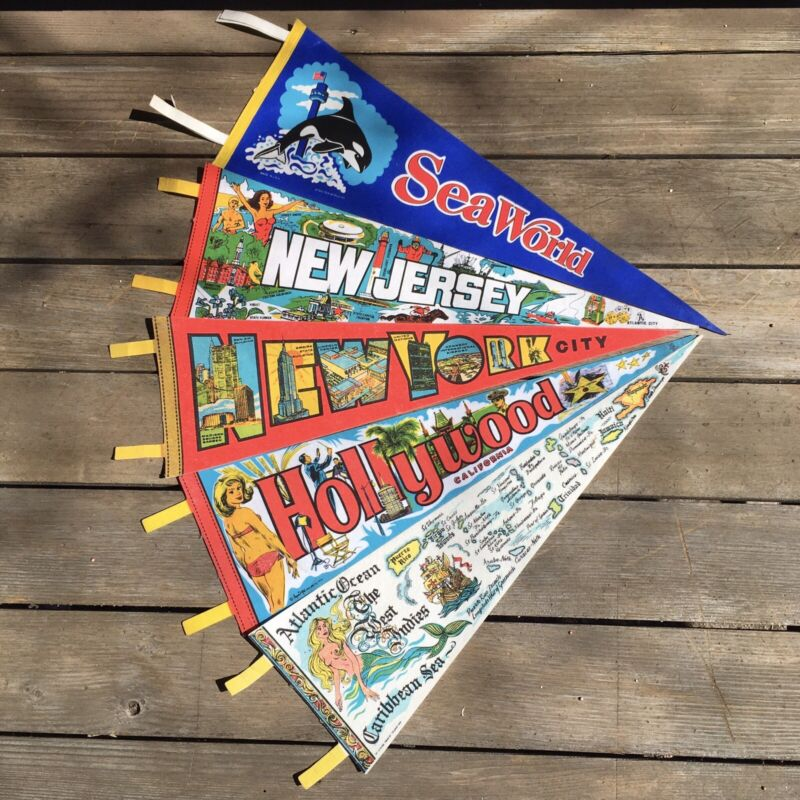Vintage Souvenir Pennants Assorted Travel Flags