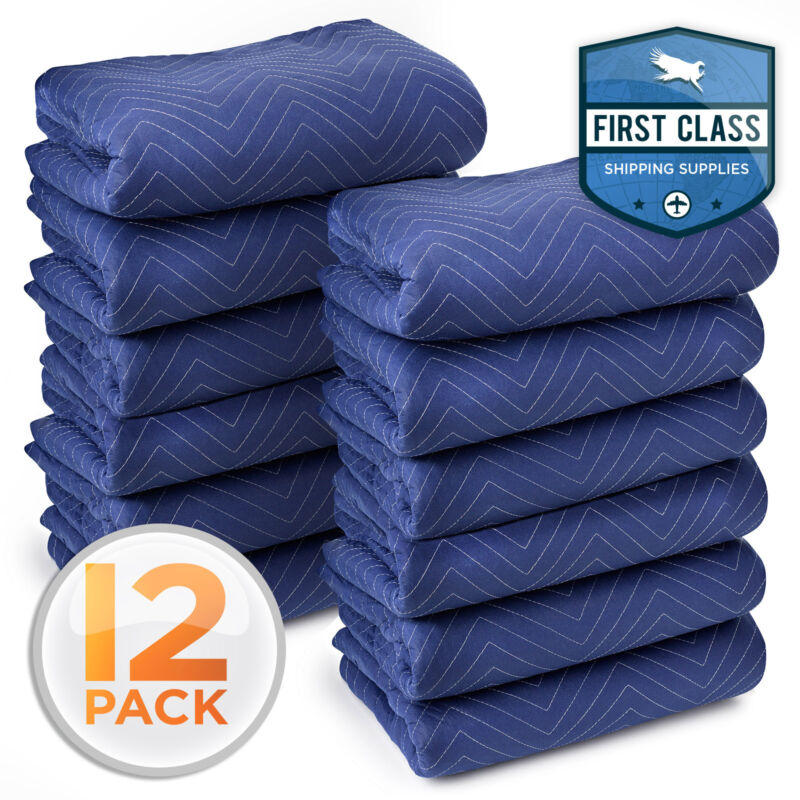 "12 Moving Blankets 80"" x 72"" (40 lb/dz) Quilted Shipping Furniture Pads Bl/Blk"