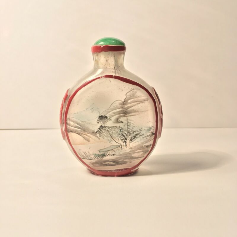 Chinese Snuff Bottle  Carved Overlay & Reverse Painted Peking Glass Snuff Bottle