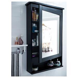 HEMNES - Mirror cabinet with 1 door, black-brown stain - Ikea