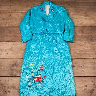 Womens Vintage 1960s Turquoise Quilted Floral Souvenir Robe Medium 10 RX 8408