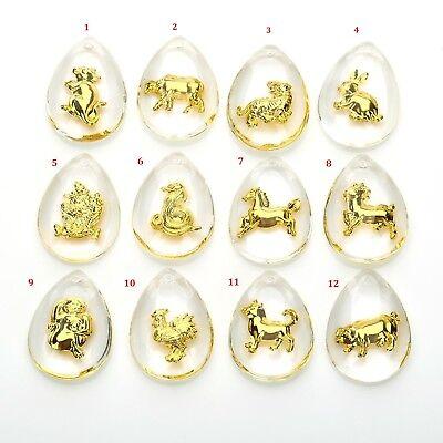 1Pcs New Fine 24K Yellow Gold  Crystal Pendant Man Womans Lukcy Chinese Zodiac