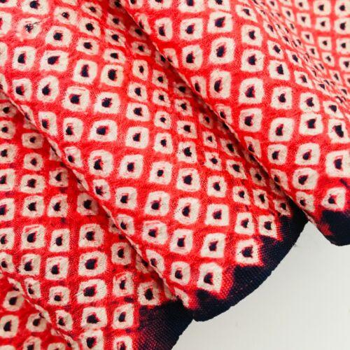 Shibori Red Navy #C 7x53 Vintage Silk Japanese Kimono Fabric Panel SA23