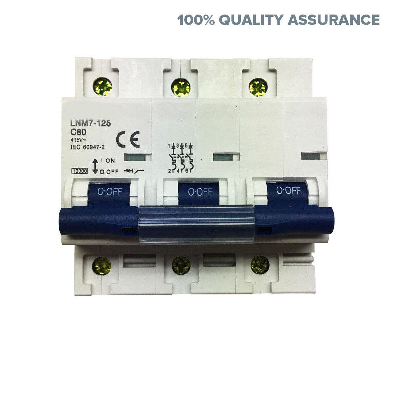 3 Pole Main Switch 100A 3 Phase 415V Din Rail Mount