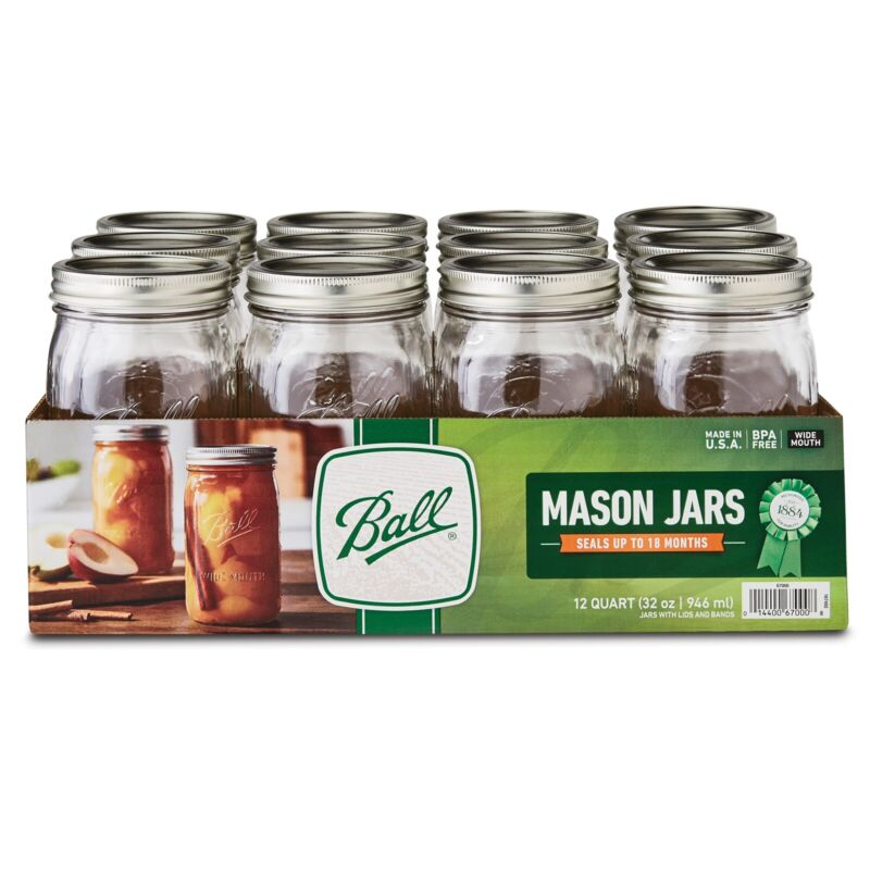 BALL, Glass Mason Jars with Lids & Bands, Wide Mouth, 32 oz, 12 Count (30/30)