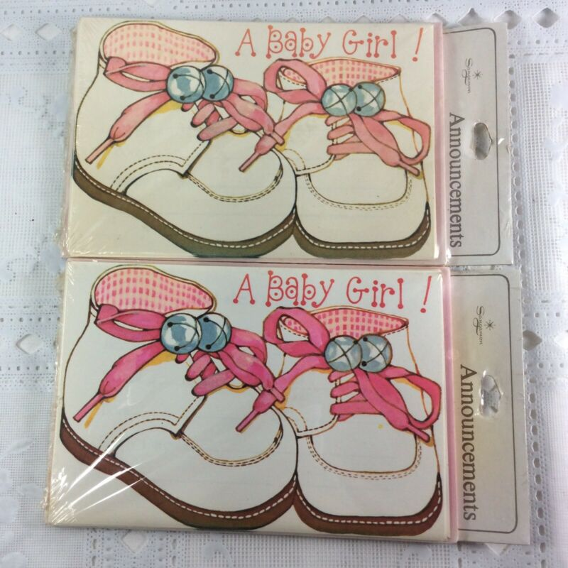Vintage It's a Girl Baby Announcement Cards 2 Pack of 8 each Baby Pink Shoes