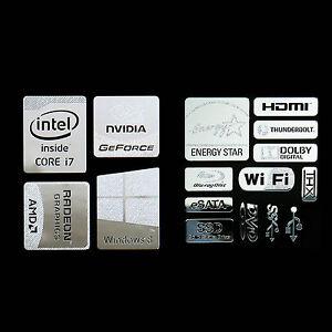 Haswell Intel Core i7 Logo Metal Decal Sticker Energy star Windows8 (combo D)