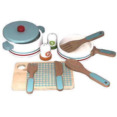 Geschirr- und Topfset Kinderküche 10 Teile Holz Spielküche Kochset Topf