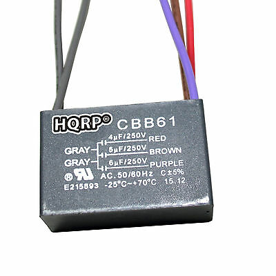 Capacitor for Hampton Bay Ceiling Fan 4uf+5uf+6uf 5-Wire CBB61 Replacement
