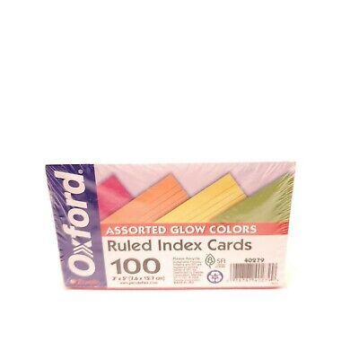 Oxford Assorted Glow Colors Ruled Index Cards Count 195 Cards Usa Seller