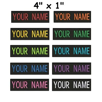 """Custom Embroidered Name Tag Sew on Patch Motorcycle Biker Patches 4"""" x 1"""" (B)"""