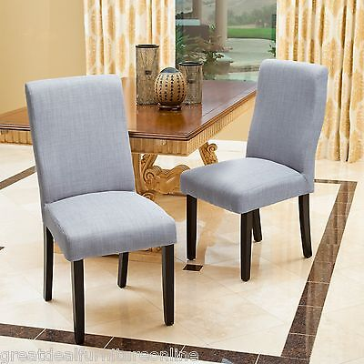 Set of 2 Contemporary Grey Fabric Dining Chairs