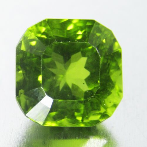 3.38Cts Excellent Natural Green Peridot 8.2mm Cushion Fancy Cut Pakistan Gem