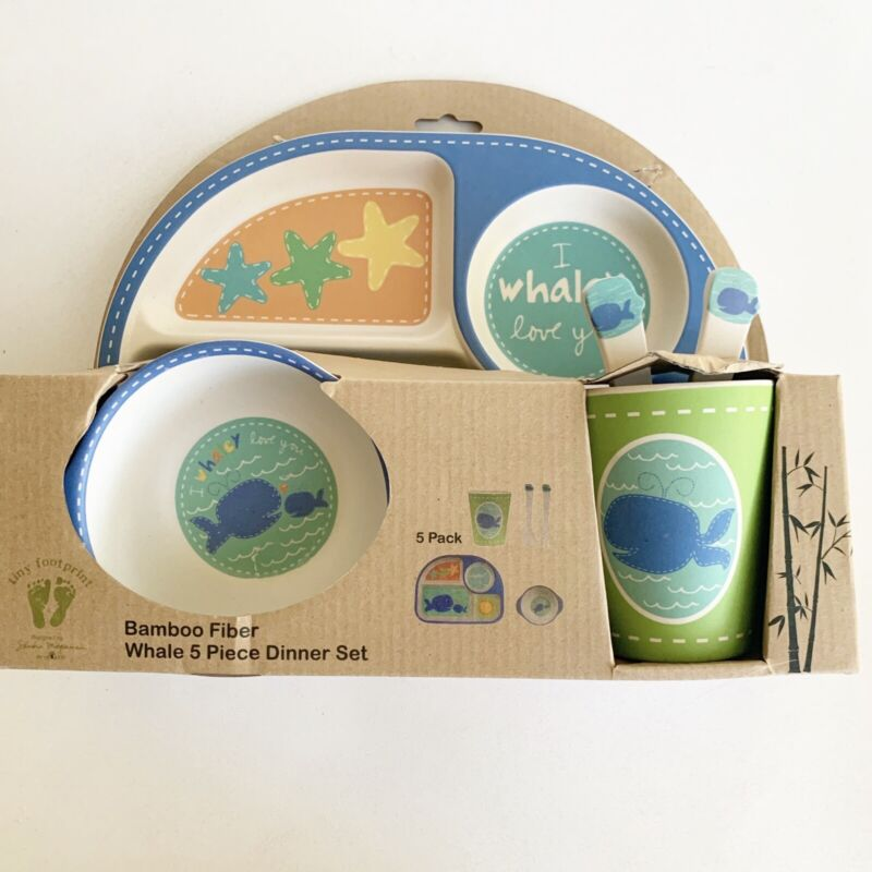 Bamboo Fiber Childrens 5 Piece Dinner Set Whale Divided Plate Bowl Cup Utensils