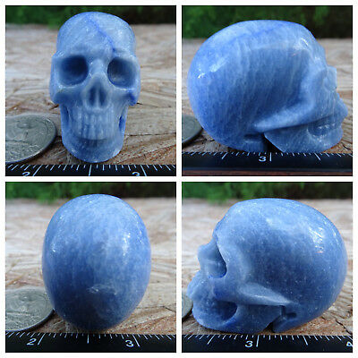 "2.0"" Blue Aventurine Skull Carved 3.1oz 87.2g Crystal Healing Realistic"
