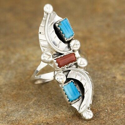 Native American Sterling Silver Turquoise & Coral Leaf Ring Size 8.5 By AL Turquoise Coral Sterling Ring
