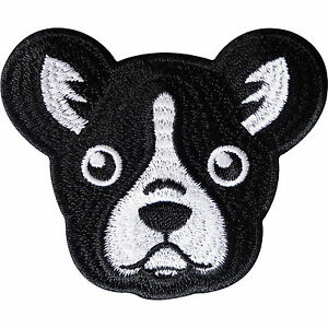 Boston Terrier Patch Iron / Sew On Clothes Jacket Jeans Embroidered Dog Badge