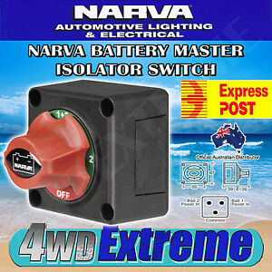 NARVA BATTERY MASTER SWITCH, BOAT MARINE CARAVAN DUAL SYSTEM ISOLATOR 61084BL