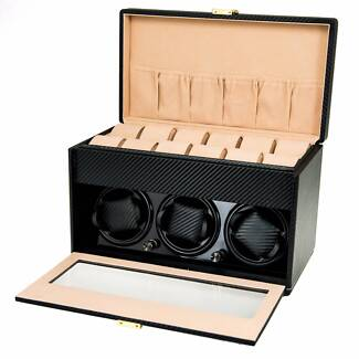 Luxury Automatic Watch Winder black Carbon fiber leather wooden d