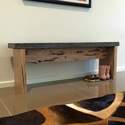 Hardwood Ash entry, entryway seat, garden bench,  charcoal polished concrete top