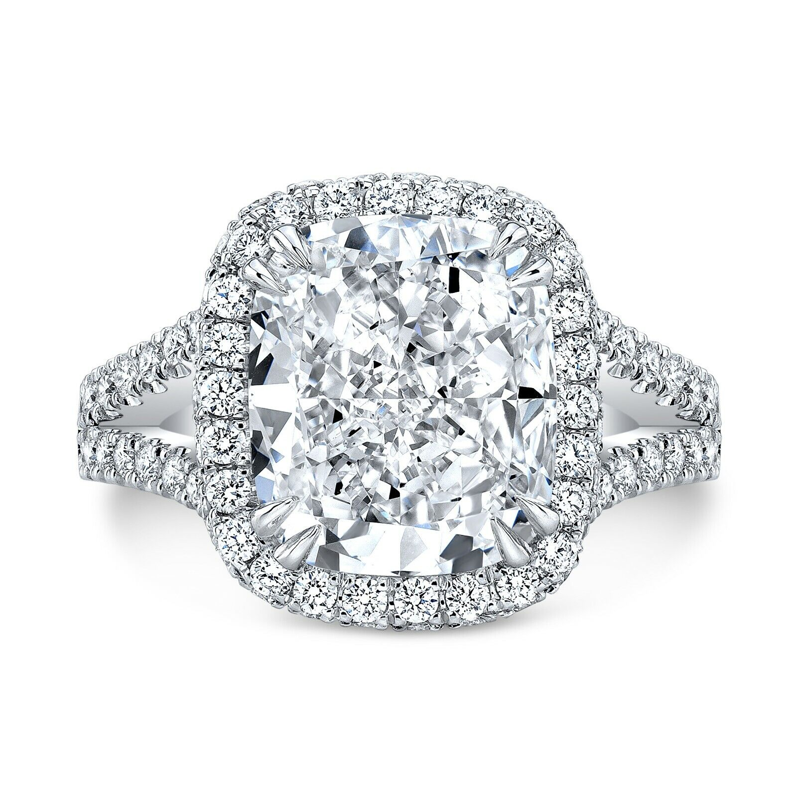 New 4.10 Ct Cushion Cut Halo Round Cut Diamond Engagement Ring GIA J,VS2 Plat