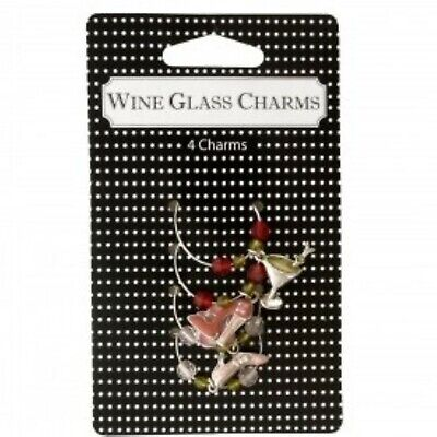 Set of 4 WINE GLASS CHARMS Cocktail Party Decoration Martini Flower Stilettos 4 Wine Glass Charms