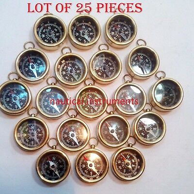 LOT OF 25 PCS NAUTICAL VINTAGE MARITIME GIFT ANTIQUE BRASS POCKET COMPASS