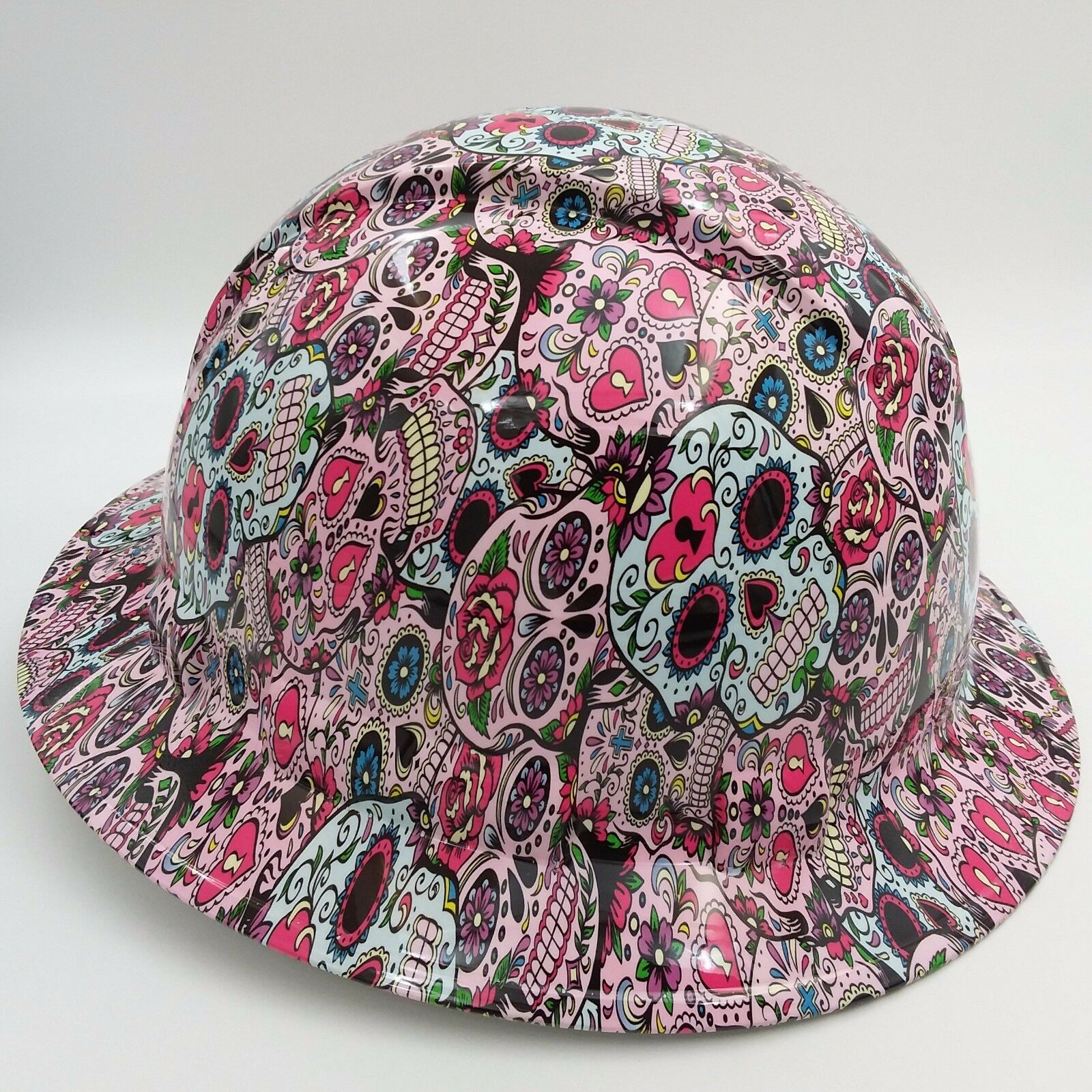 Hard Hat FULL BRIM custom hydro dipped , OSHA approved SUGAR SKULLS NEW 2
