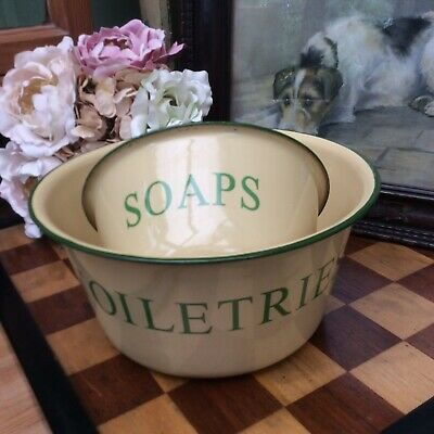 *ShAbbY~ChiC ViNtAge StyLe CrEaM & GrEEn EnaMeL ToiLeTriEs BowL & SoAp DiSh*