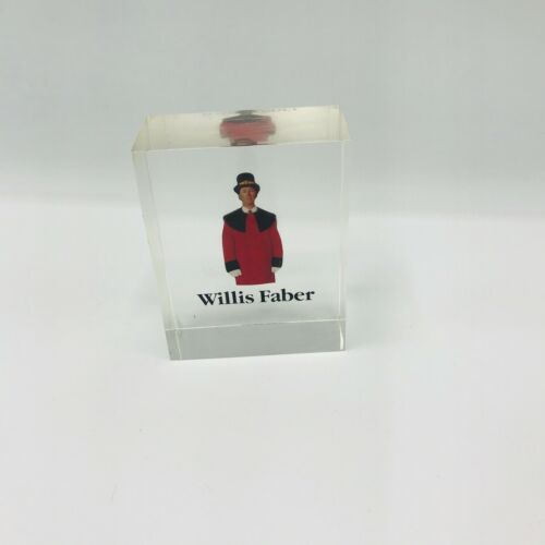 Vintage Willis Faber Paperweight Lucite Weight Collectors Piece