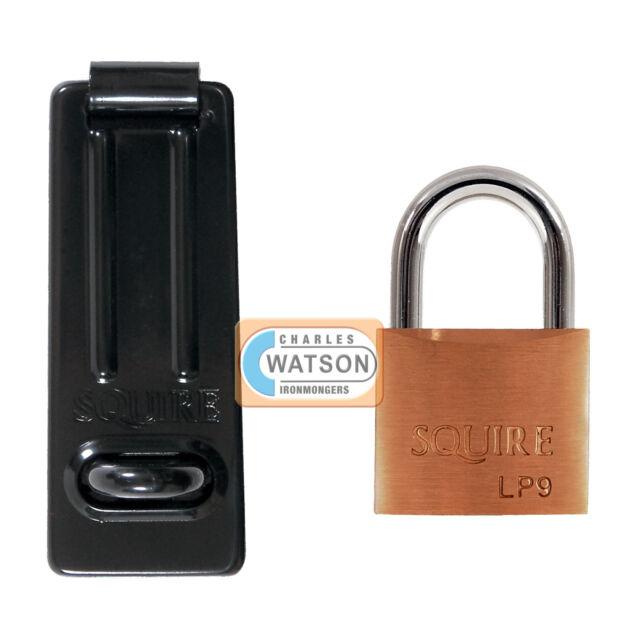 Squire LP9/SH1 40mm Brass Padlock Shed Garden Locker Gate Lock Hasp & Staple Set