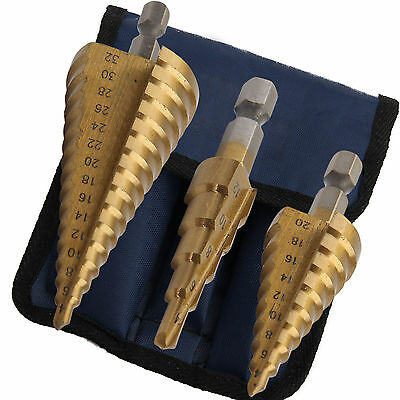 3 PIECE HIGH SPEED TITANIUM COATED STEEL  LARGE STEP DRILL BIT SET HOLE CUTTER