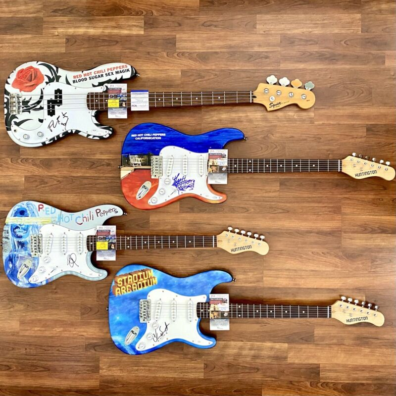 Red Hot Chili Peppers Signed Guitar Lot Of 4. HOLY GRAIL COLLECTION JSA PSA COA
