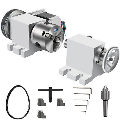 Cnc Router Rotational Rotary Axis 80mm 3 Jaw Chucktailstock 4th-axis Engraver