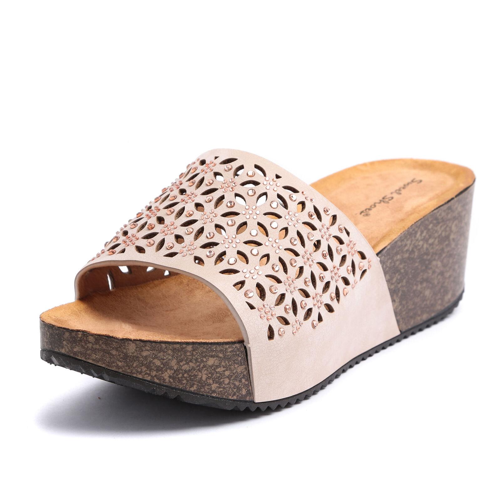 dal costo ragionevole colore attraente sconto speciale di Scarpe donna ciabatte zeppa sughero flatform sandali eco pelle ...