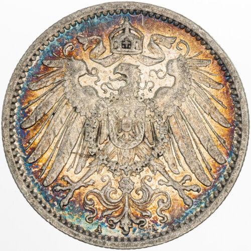 1909 GERMANY 1 MARK SILVER GEM UNC BU STUNNING SCRATCH TONED COLOR CHOICE (MR)