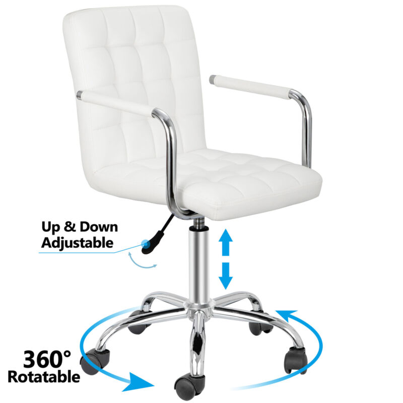 White Desk Chairs w/ Wheels/Armrests Leather Office Chair Executive Chair 360°