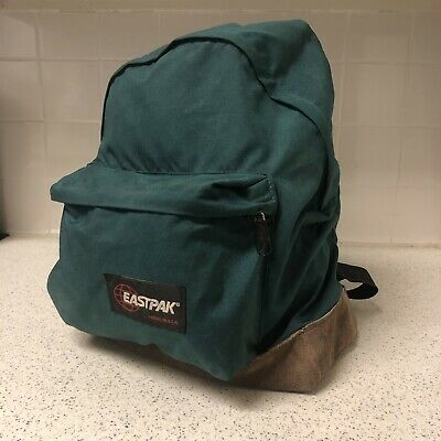 Vintage Eastpak Backpack Leather Bottom Made In USA Green - Clean