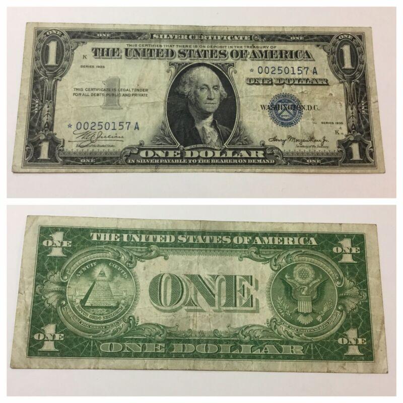 VINTAGE RARE 1935-PLAIN STAR $1 SILVER CERTIFICATE ONE DOLLAR WASHINGTON BLUE