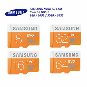 genuine samsung micro sd card evo class 10 uhs 1 8gb 16gb. Black Bedroom Furniture Sets. Home Design Ideas