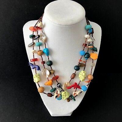 Multi 3 Strand Fetish Treasure Stone Bead Necklace 18