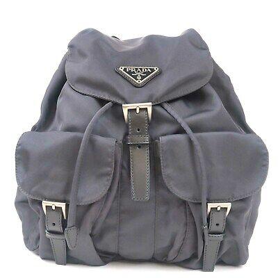 Authentic PRADA Nylon Leather Back Pack Gray B6677 Used F/S