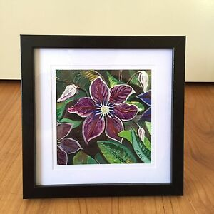 Flower acrylic hand paintings mounted framed gift purple pink Sunnybank Brisbane South West Preview
