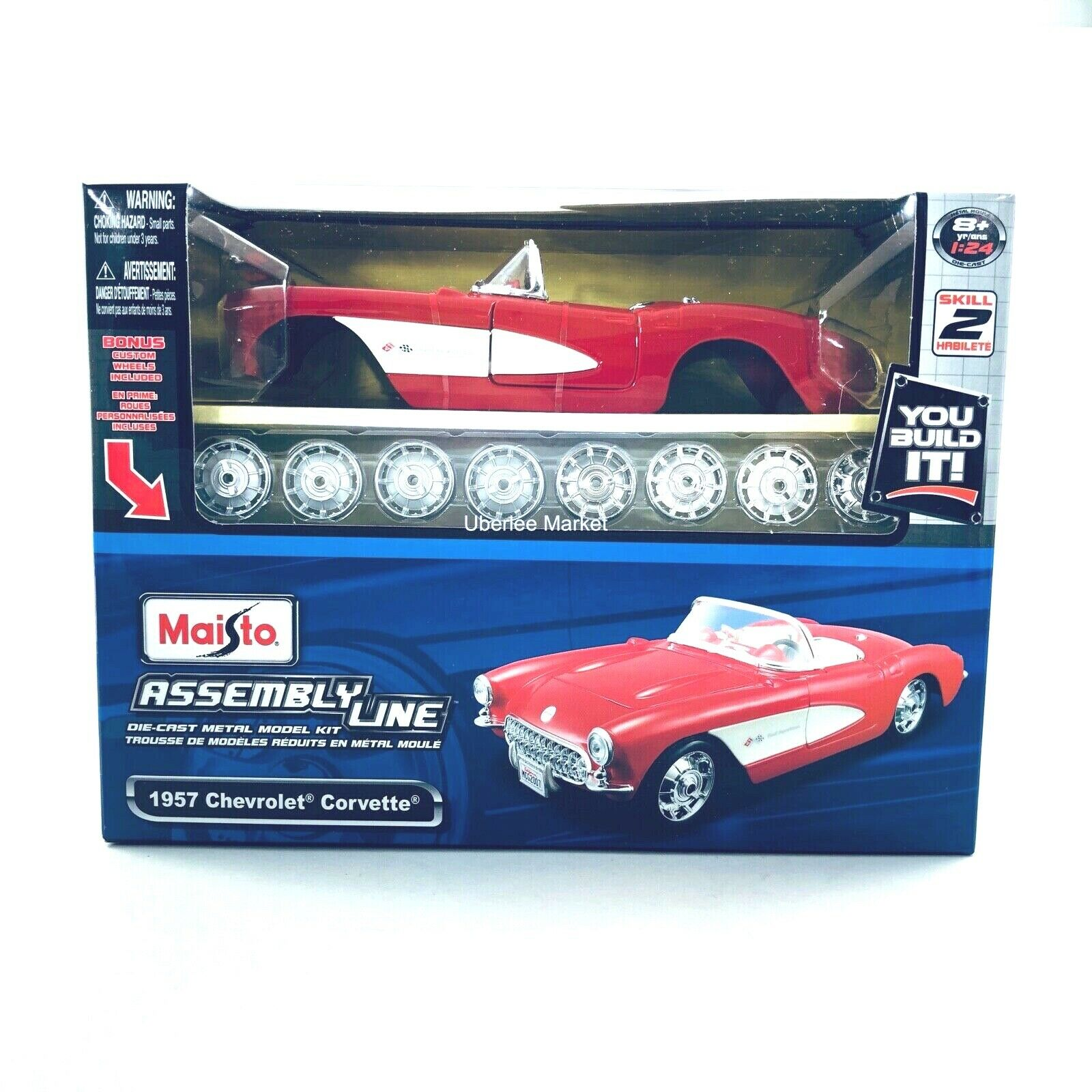 39275 1/24 AL '57 Chevrolet Corvette Red/White Metal MAIS927