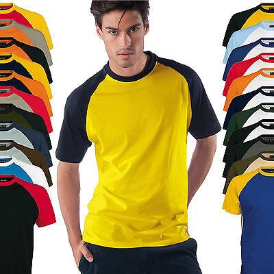 Kariban Herren Kurzarm Rundhals Baseball T-Shirt zweifarbig S-3XL