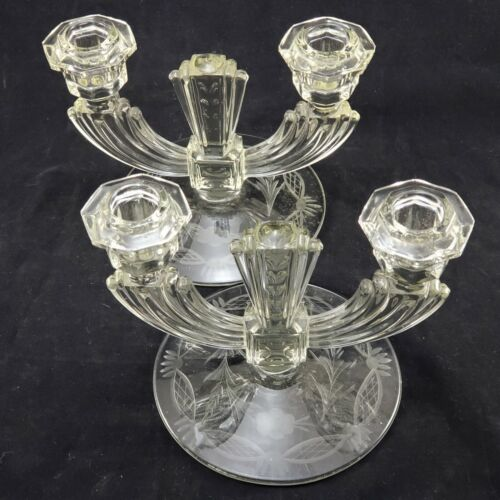 Two Keystone Clear Pressed Glass Double Candlestick Holder Vintage Etched Base