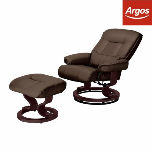 Argos Home Paolo Faux Leather Manual Recliner Chair Brown