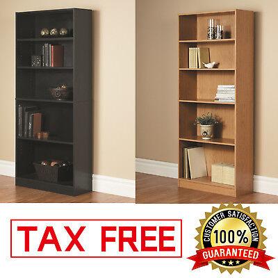 - WOOD BOOKCASE Adjustable 5 Shelf Bookshelf Storage Wide Book Shelving Furniture