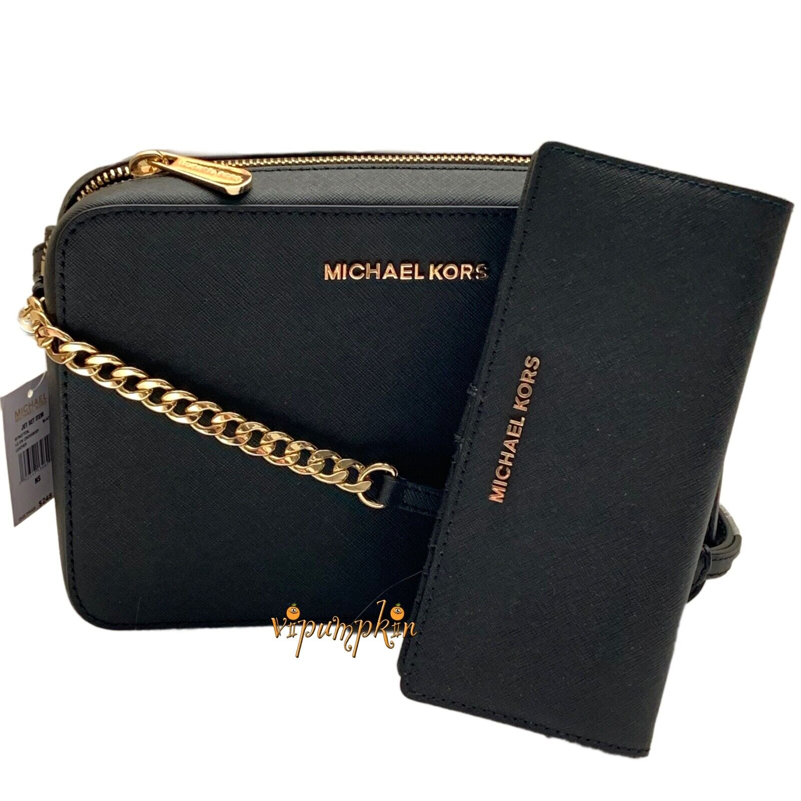 Michael Kors Jet Set Item Crossbody Bag Wallet Set Saffiano Leather Black